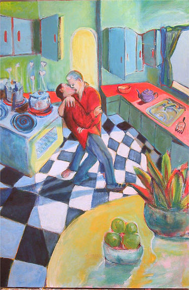 Gay Marriage Painting - Kitchen Kiss by Dominic Fetherston