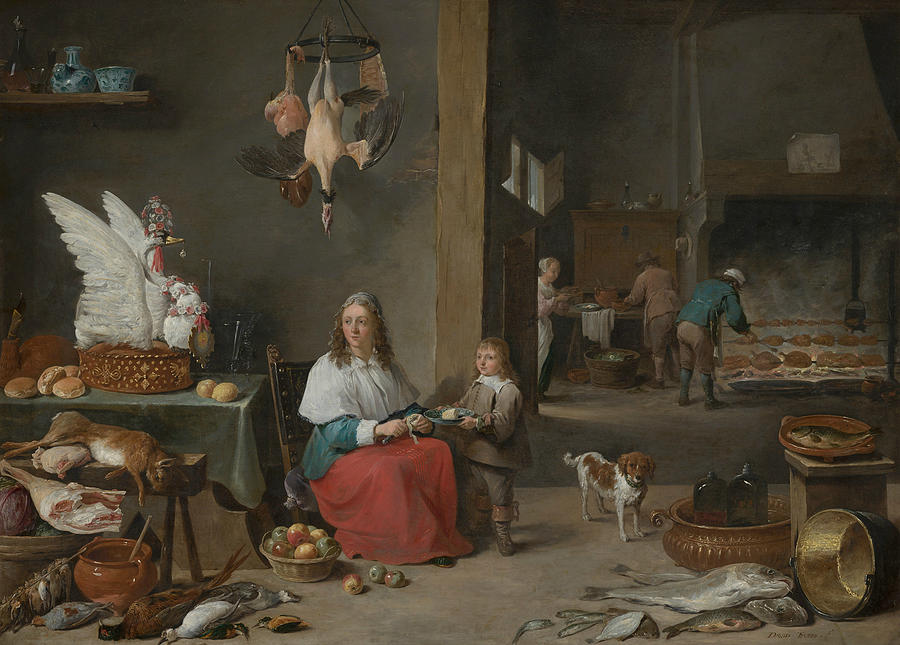 Flemish Painters Painting - Kitchen Scene by David Teniers the Younger