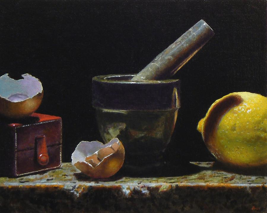 Lemon Painting - Kitchen Still Life With Red Box by Jeffrey Hayes