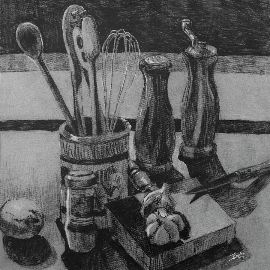 kitchen utensils still life drawing by stephen boyle
