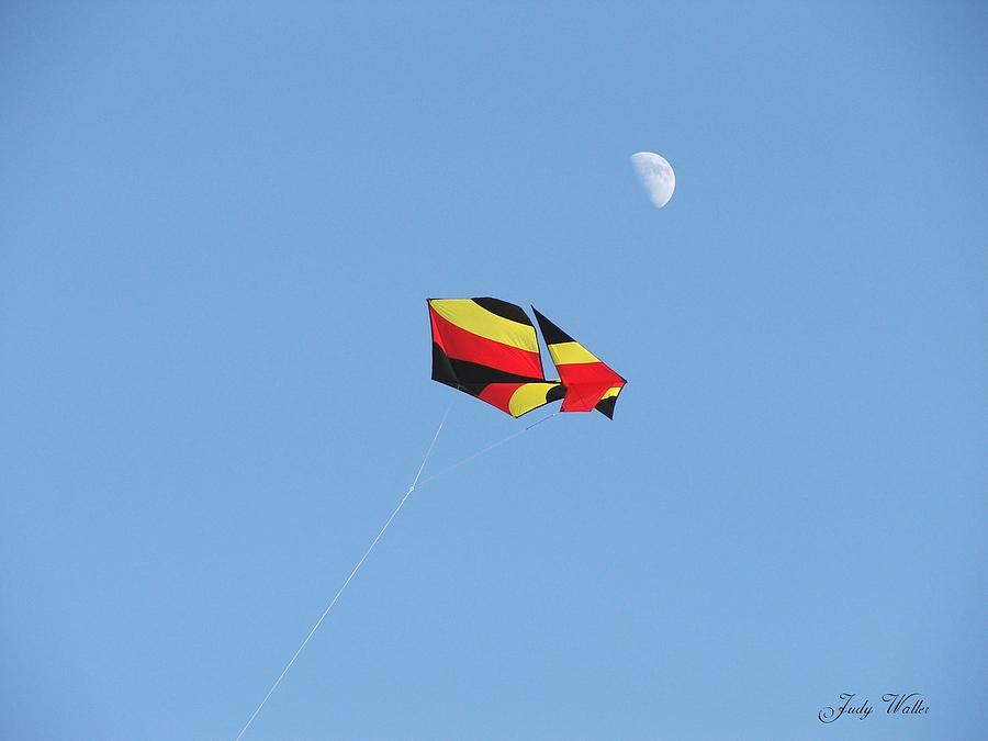 Flying Photograph - Kite And Moon by Judy  Waller