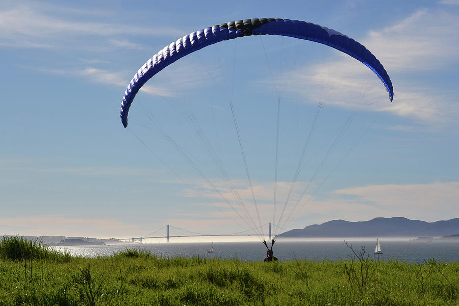Kite Photograph - Kite Over the Golden Gate by D Patrick Miller