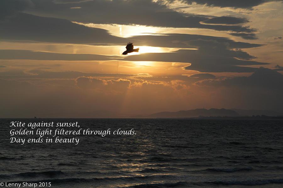 Japan Photograph - Kite Sunset - Haiku by Leonard Sharp