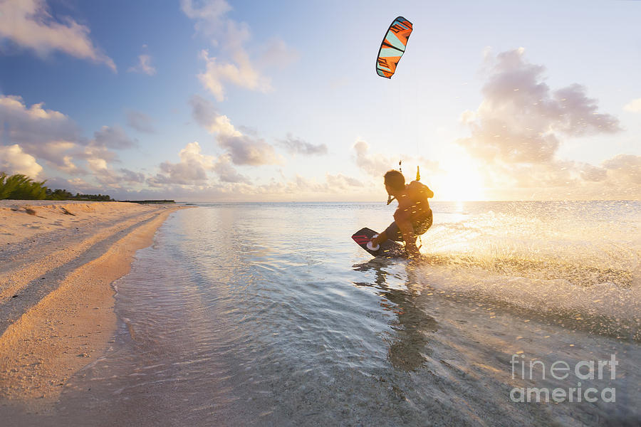 Adventure Photograph - Kiteboarding In Tropical Lagoon by MakenaStockMedia