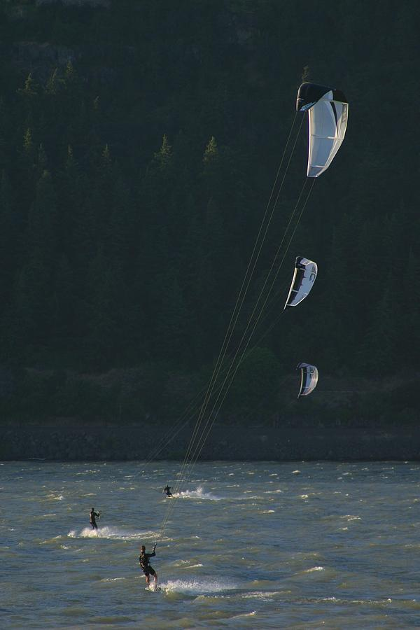 Sports Photograph - Kiteboarding On The Columbia River by Skip Brown
