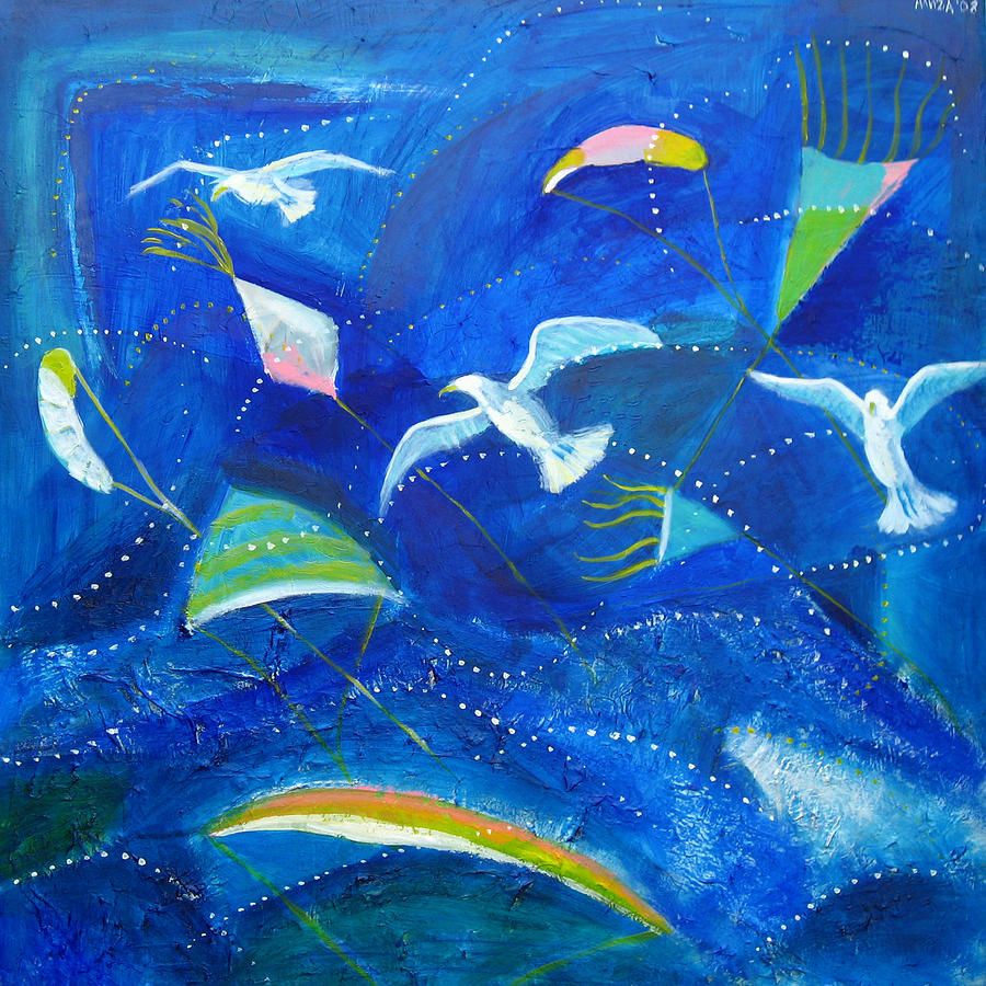 Seagull Painting - Kites And Seagulls Over Pacific by Aliza Souleyeva-Alexander