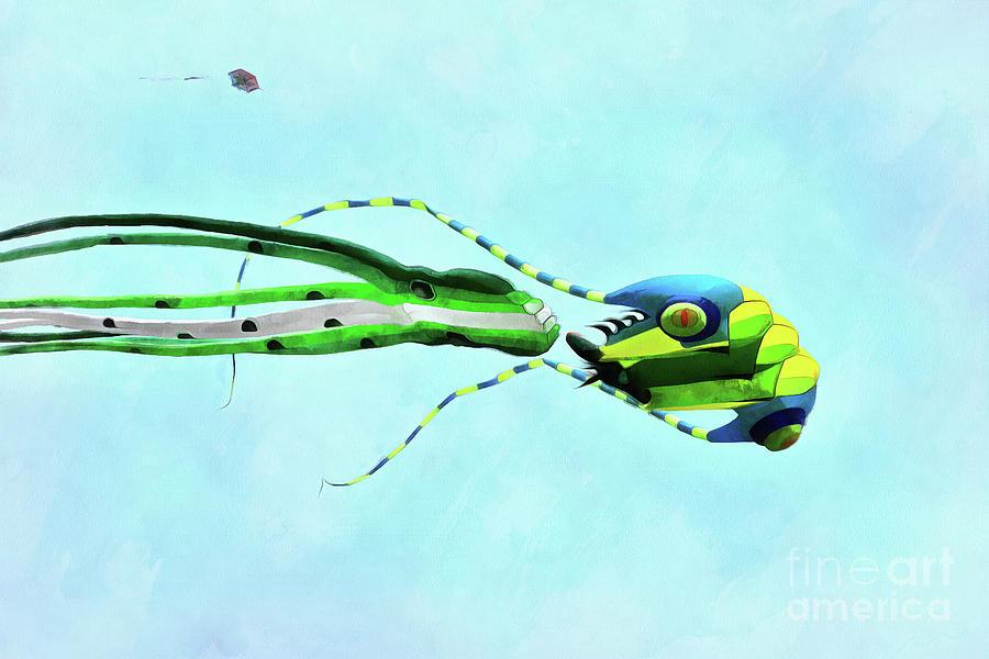 Artistic Painting - Kites Flying During Kite Festival by George Atsametakis