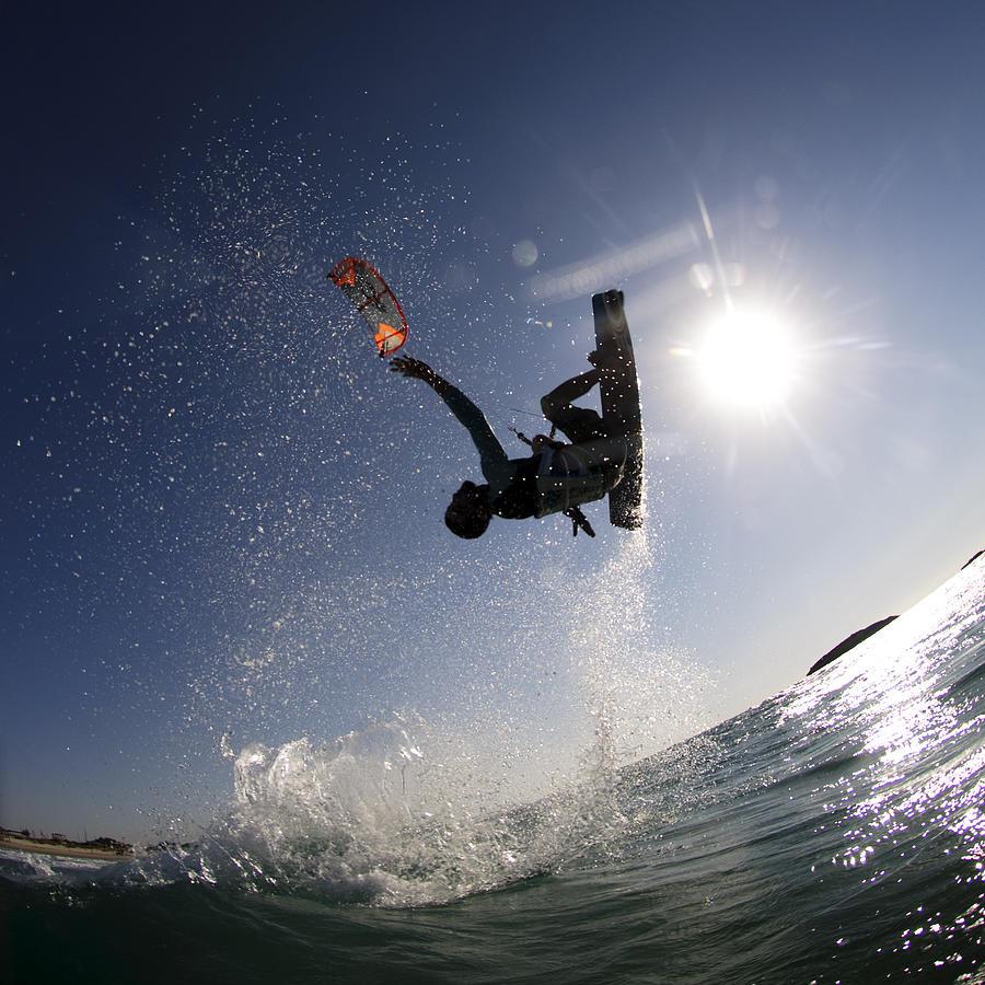 Motion Photograph - Kitesurfing in the Mediterranean Sea  by Hagai Nativ