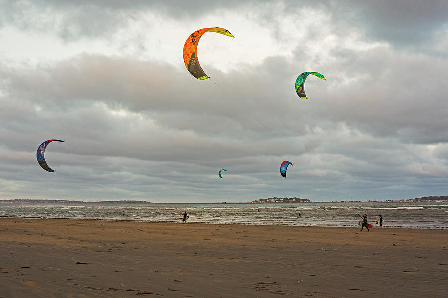 Revere Photograph - Kitesurfing on Revere Beach by Toby McGuire