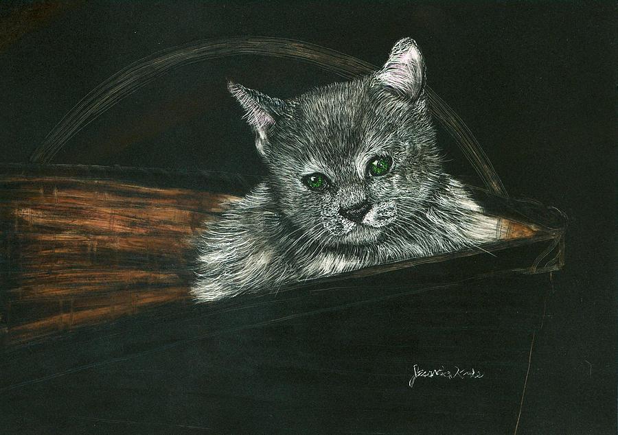 Cat Mixed Media - Kitten In A Basket by Jessica Kale