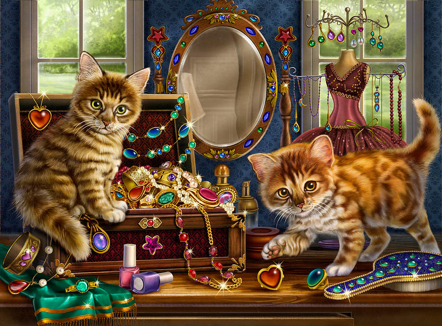 Kittens With Jewelry Box Painting - Kittens With Jewelry Box by Anne Wertheim