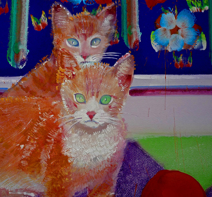 Kittens Painting - Kittens With Wild Wallpaper by Charles Stuart