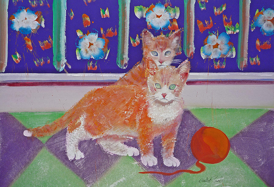 Kittens Painting - Kittens With Wild Wool by Charles Stuart