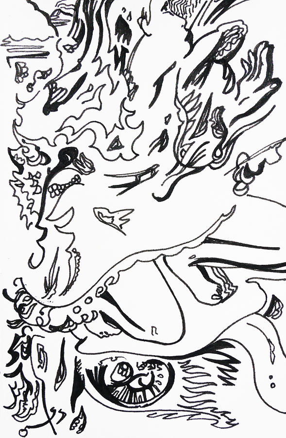 Pen Drawing - Kitties Kiss by Joseph Demaree