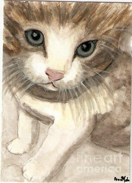 Cat Painting - Kitty Cat by AnnaMarie Armstrong