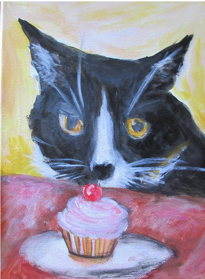 Cat Painting - Kitty Cupcake by Denice Palanuk Wilson