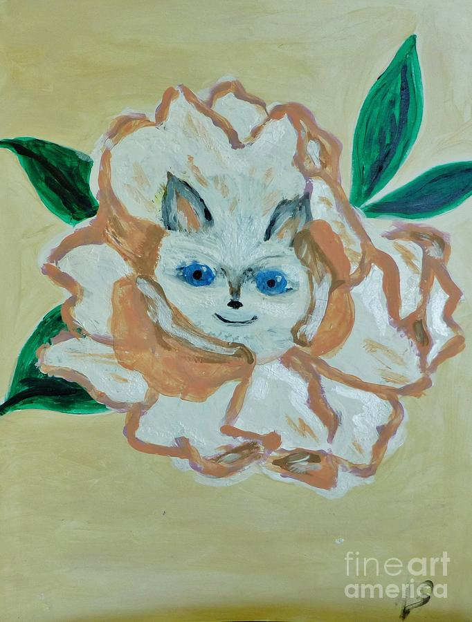 Kitty In The Magnolia Blossom Painting by Marie Bulger