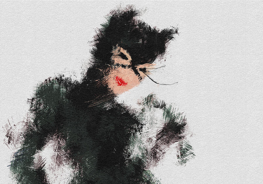 Cat Woman Painting - Kitty by Miranda Sether