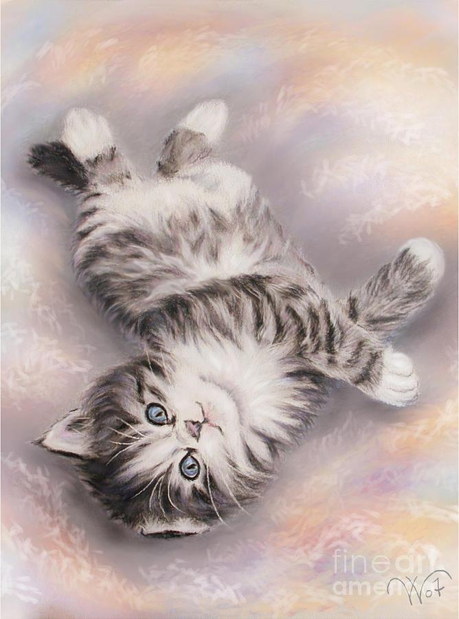 Cat Painting - Kitty by Valentina Vassilieva
