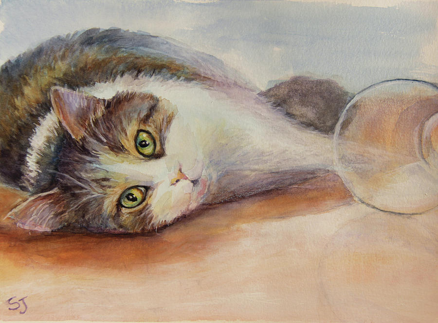 Kitty Painting - Kitty with Spilled Milk by Susan Jenkins