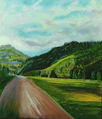Landscape Painting - Kitzbuhel Mountain Road - Austria by Glynnis Sorrentino