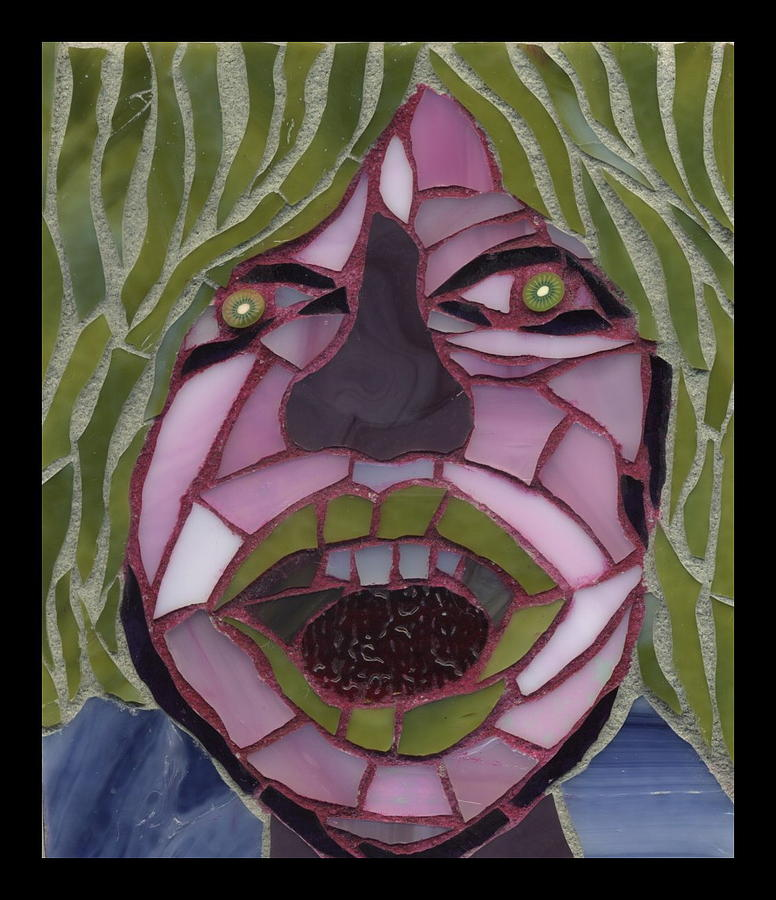 Mosaic Painting - Kiwi - Fantasy Face No. 10 by Gila Rayberg