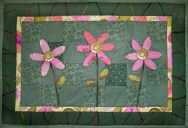 Art Quilt Tapestry - Textile - Kiwi Flowers by Pam Geisel