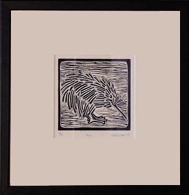 Linocut Drawing - Kiwi by Melissa Sullivan