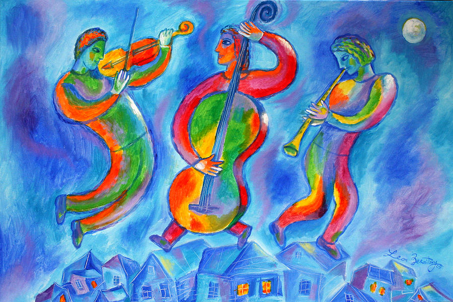 Jewish Music Painting - Klezmer On The Roof by Leon Zernitsky