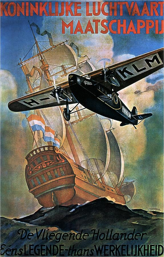 Klm Painting - KLM - Royal Dutch Airlines Aircraft flying over a sailing ship - Vintage Advertising Poster by Studio Grafiikka