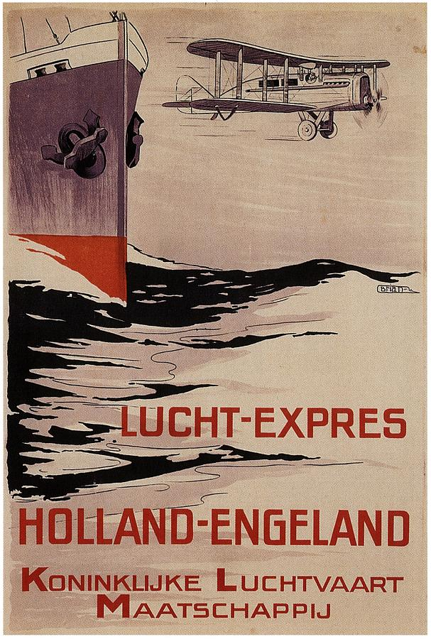 Klm Painting - KLM - Royal Dutch Airlines Aircraft flying over a Steamliner ship - Vintage Advertising Poster by Studio Grafiikka
