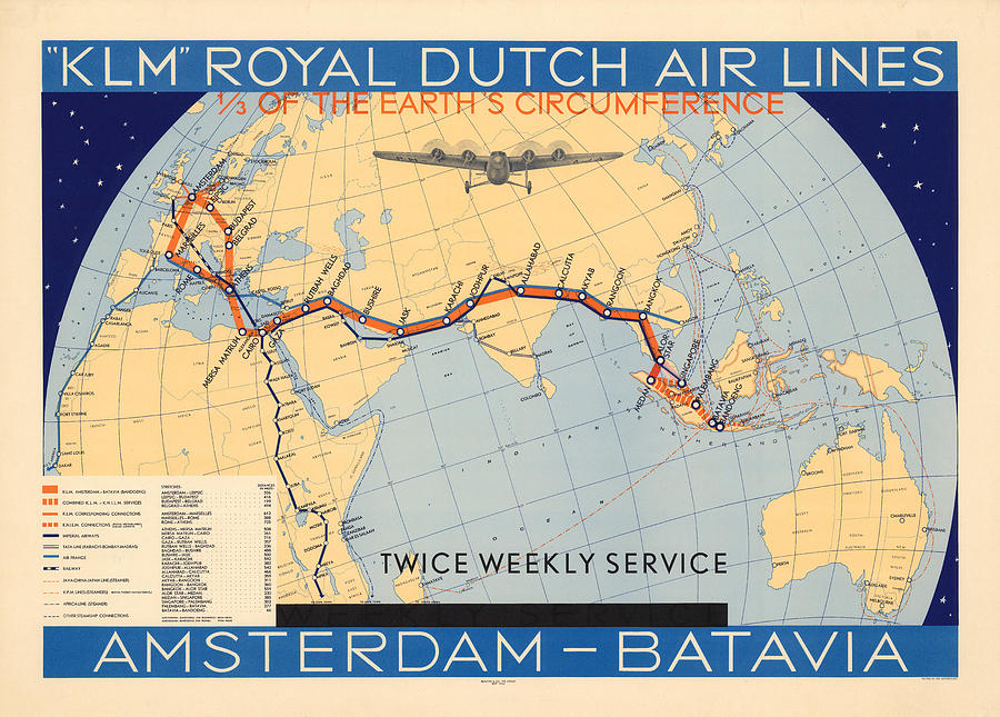 Klm Royal Dutch Airlines - Amsterdam To Batavia - Map Of The Air ...