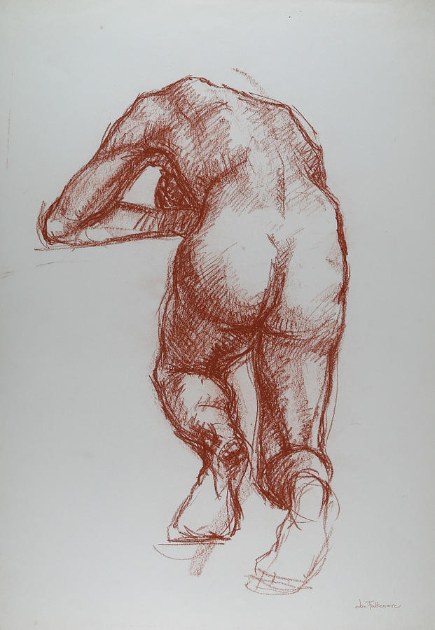 Kneeling Female, Resting Head On Raised Hands, Rear View, Student Work. Drawing