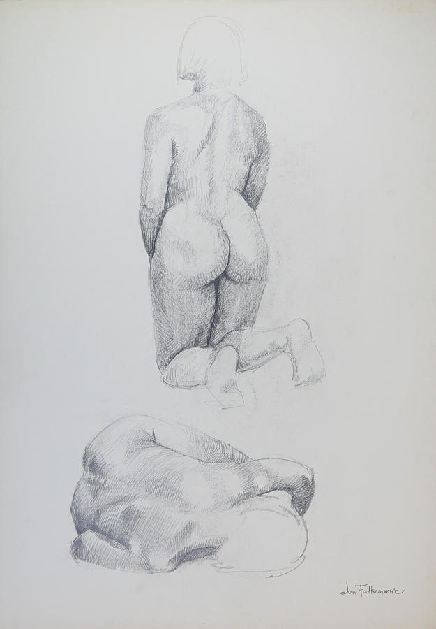 Kneeling Figure, Rear View, And Lying Figure, Foreshortened, Head Nearest, Student Work. Drawing