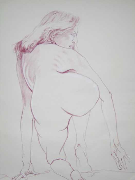 Colored Pencil Drawing - Kneeling by Joe Welling  IV