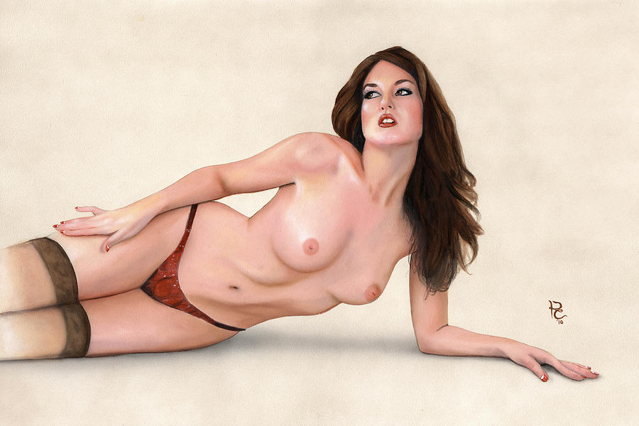 Female Painting - Kneely by Kevin Clark