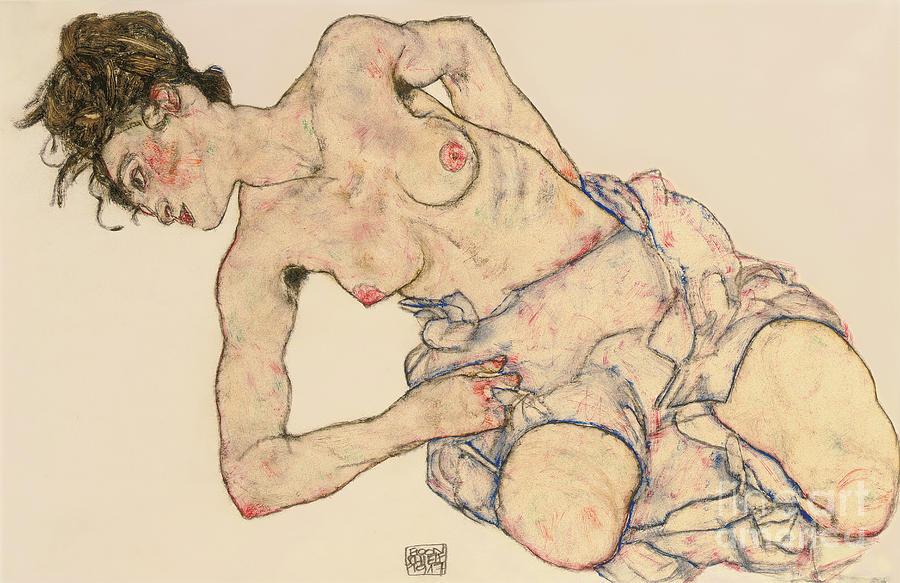 Egon Drawing - Kneider Weiblicher Halbakt by Egon Schiele