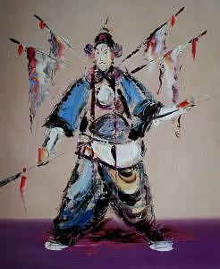 Knife Painting - Knife Heavy Textured Chinese Jingju Character by Artists Online