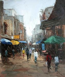 Knife Painting - Knife Heavy Textured Cityscape Oil On Canvas by Artists Online