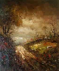 Knife Painting - Knife Heavy Textured Landscape Oil On Canvas by Artists Online