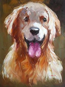 Heavy Painting - Knife Heavy Textured Oil Painting Dog On Canvas by Artists Online