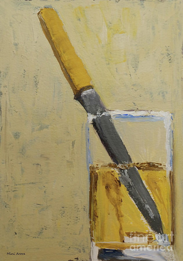 Diebenkorn Painting - Knife In Glass - After Diebenkorn by Mini Arora