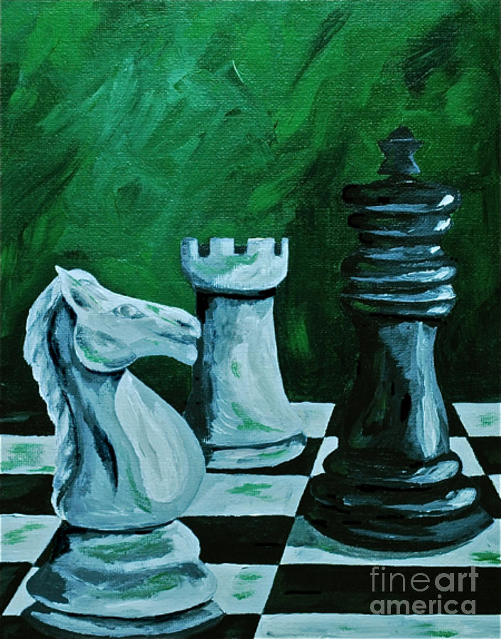 Chess Board Kids Games King Knight  Painting - Knight Takes King by Herschel Fall