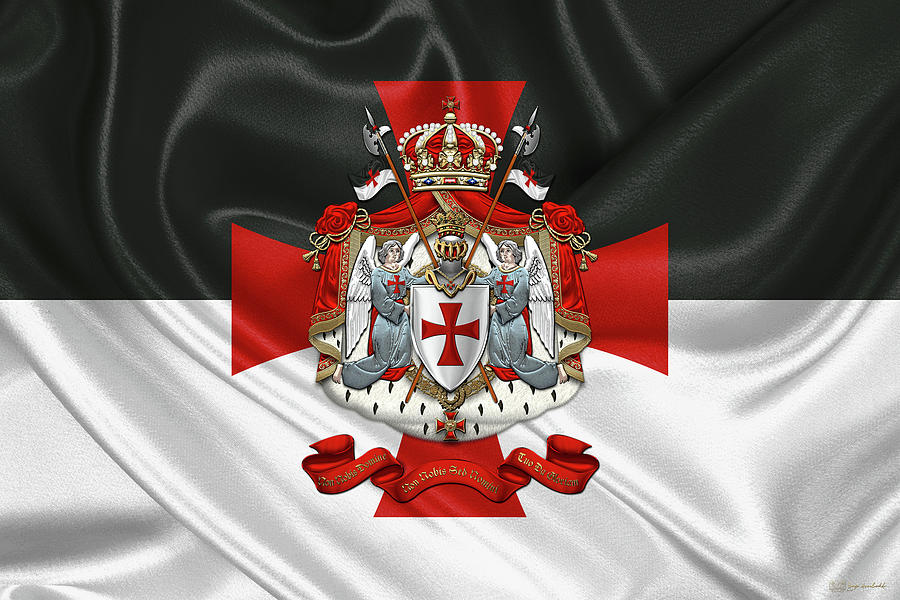 Knights Templar - Coat of Arms over Flag by Serge Averbukh
