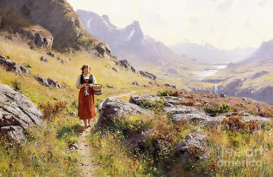 Scandinavian Painting - Knitting In A Norwegian Landscape by Hans Dahl