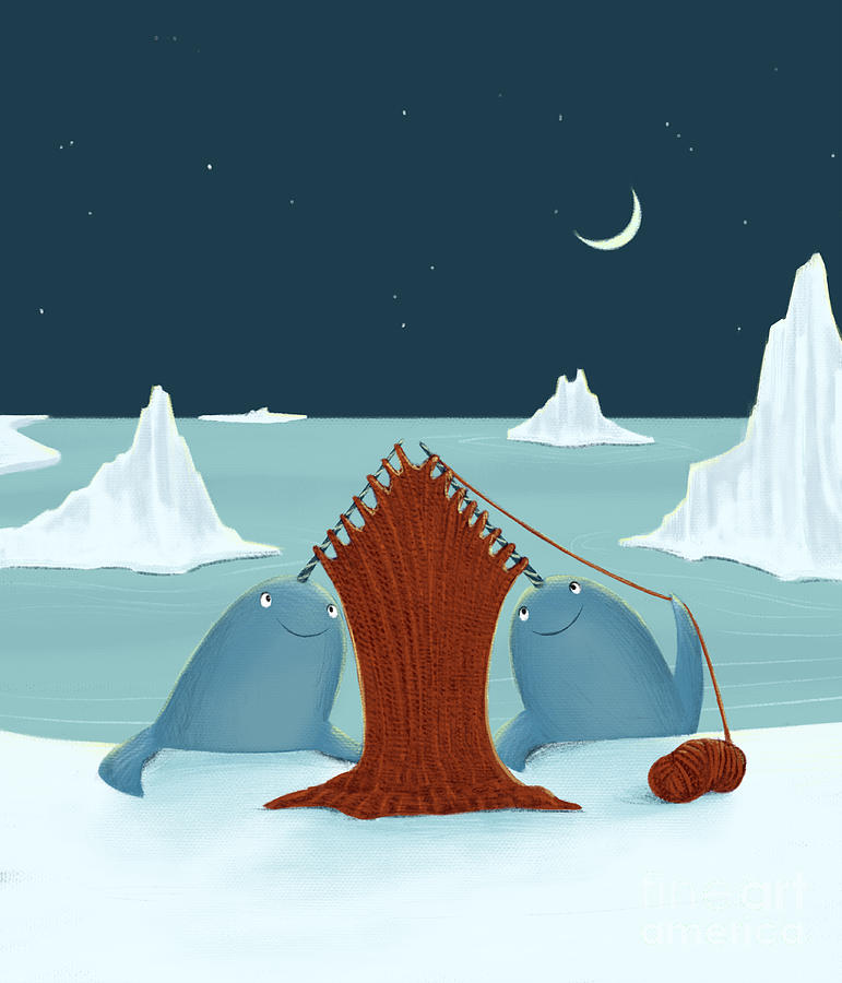 Narwhal Digital Art - Knitting Narwhals by Michael Ciccotello