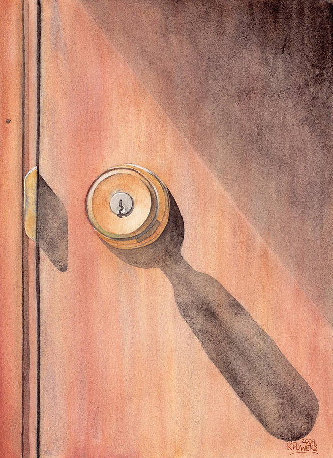Door Painting - Knob And Shadow by Ken Powers