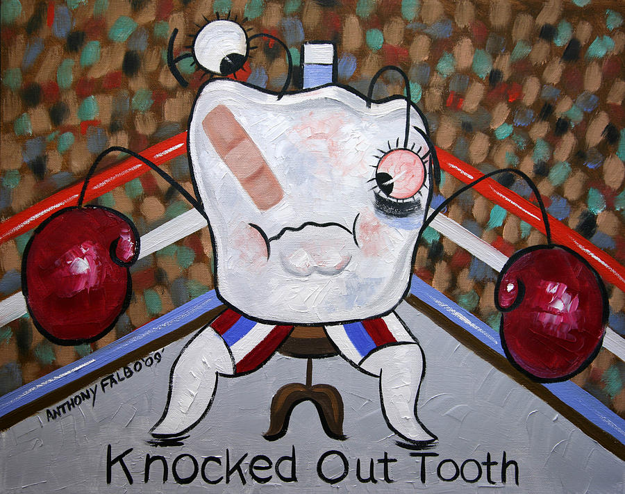 Dental Art Collectable Teeth Tooth Nurse Paintings Prints Posters Canvas Anthony Falbo Famous Artist Falboart Dentist Painting - Knocked Out Tooth by Anthony Falbo