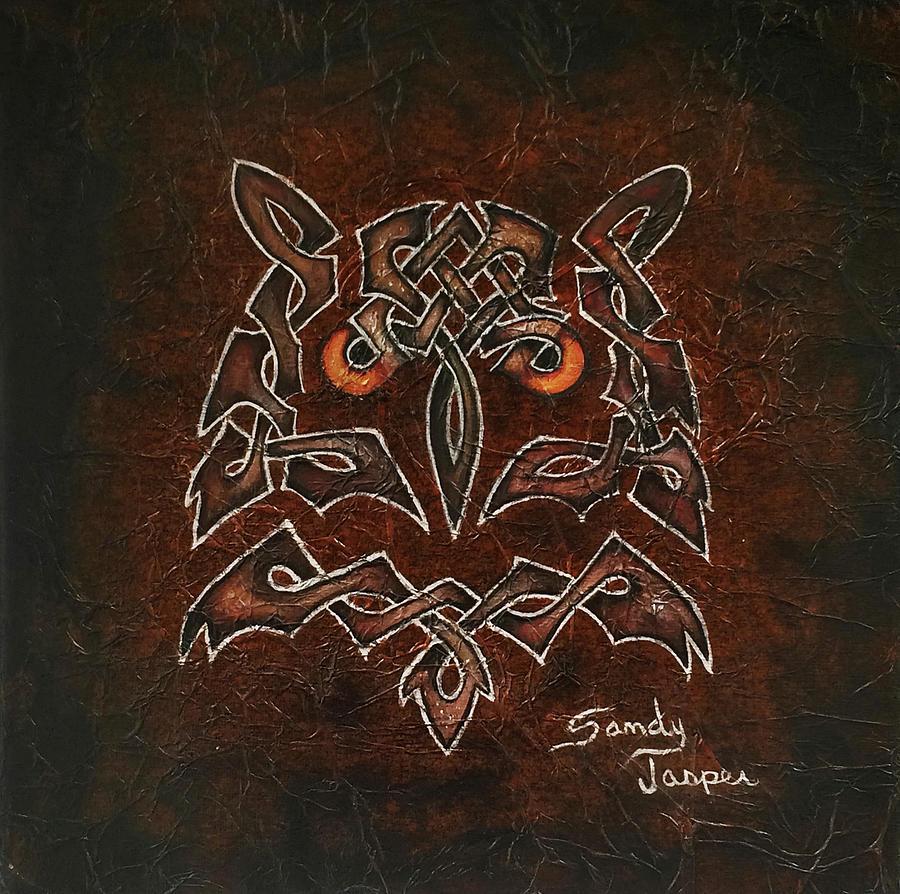 Owl Painting - Knotty Owl by Sandy Jasper