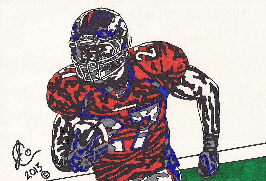American Football Drawing - Knowshon Moreno 2 by Jeremiah Colley